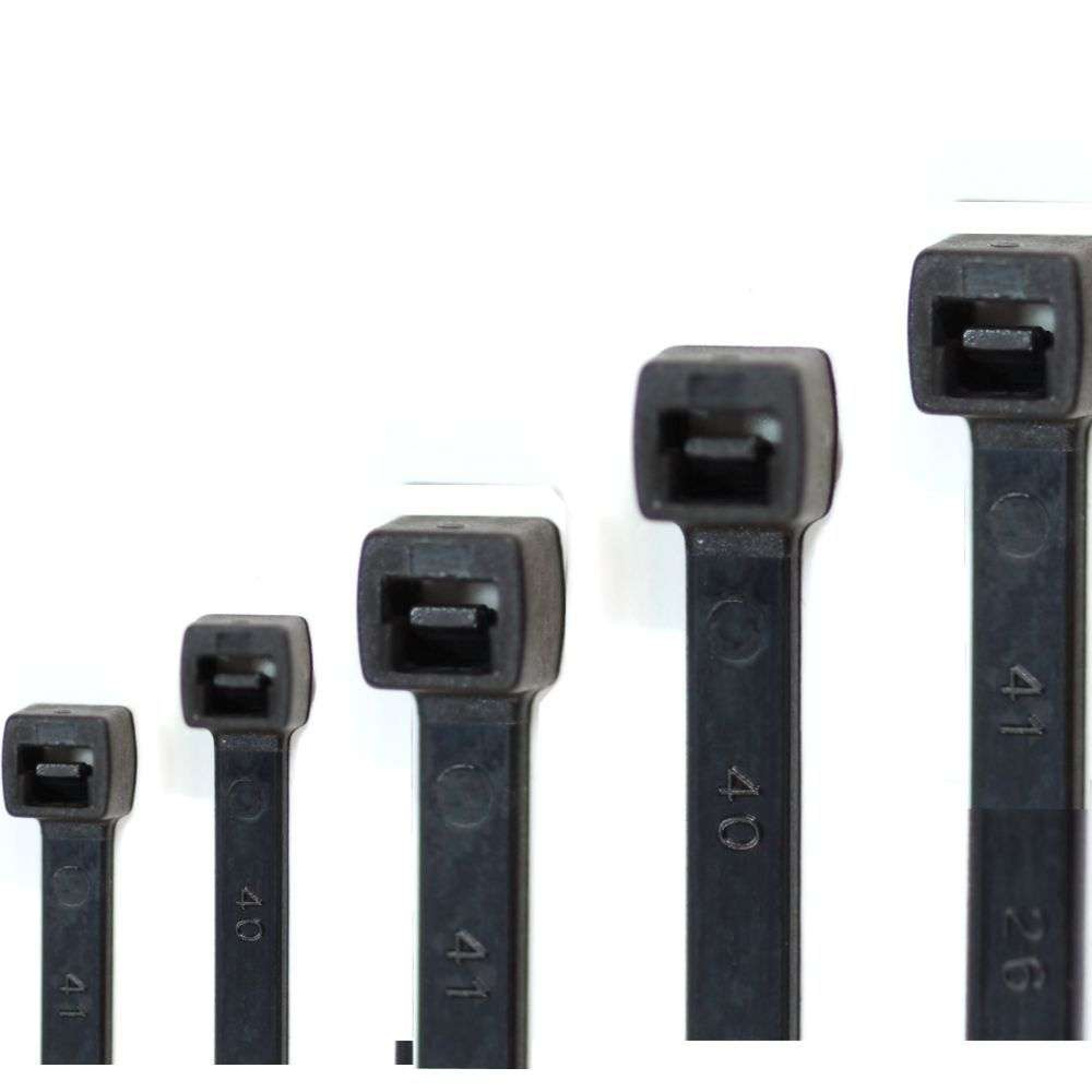 Kabelbinder Sortiment Schwarz Set 100 150 180 200 250 mm x 2,5 3,5 3,6 4,6 mm
